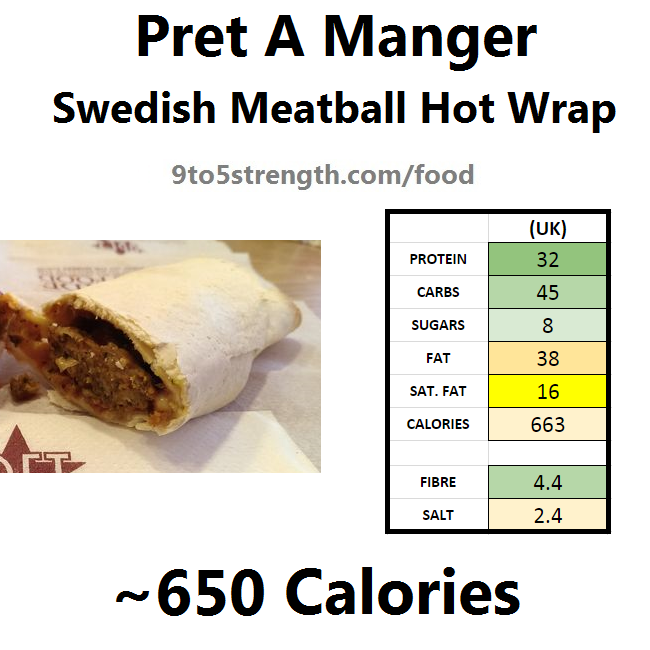nutrition information calories pret swedish meatball hot wrap