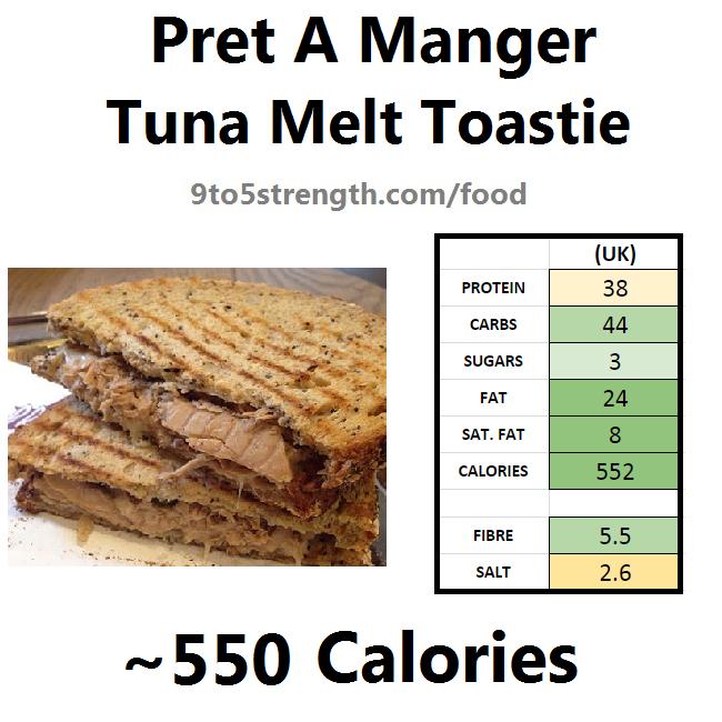 nutrition information calories pret tuna melt toastie