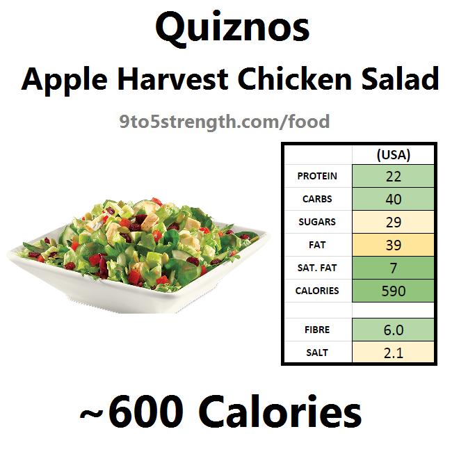 calories quiznos apple harvest chicken salad