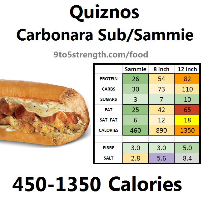 calories quiznos carbonara sub