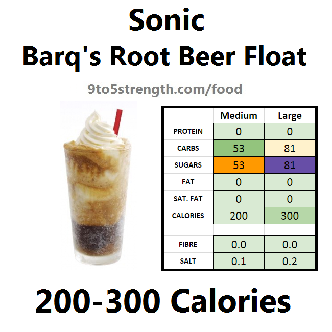 calories in sonic barq's root beer float
