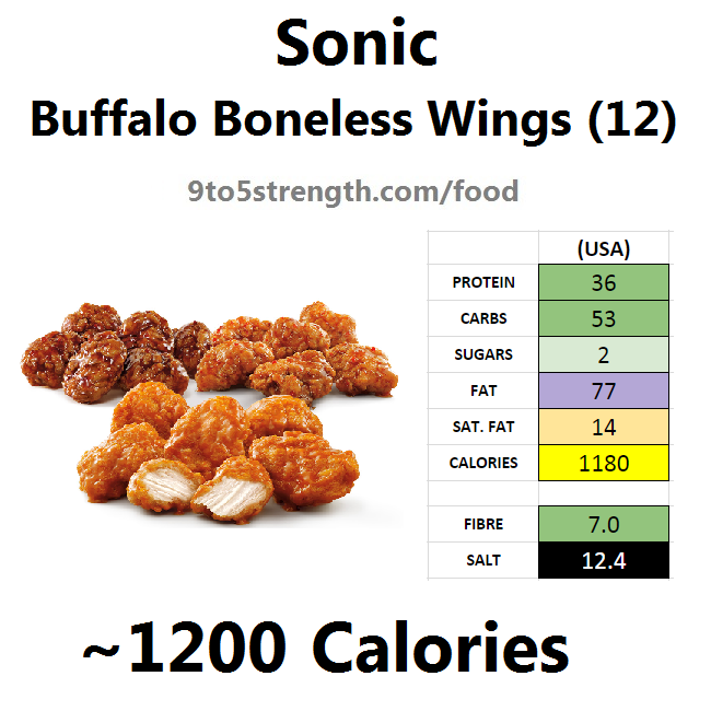 calories in sonic buffalo boneless wings
