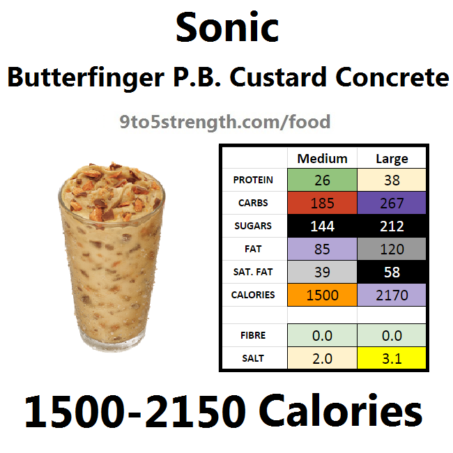 calories in sonic butterfinger peanut butter custard concrete
