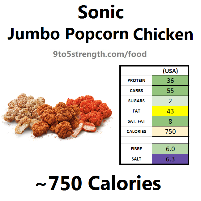 calories in sonic jumbo popcorn chicken
