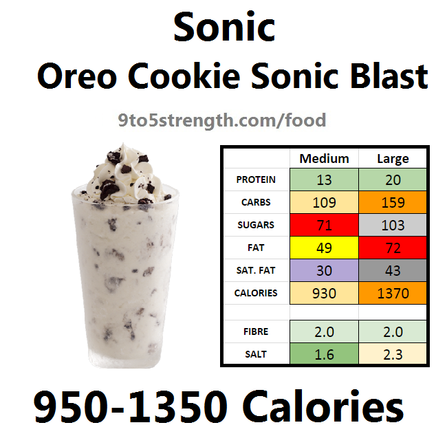 calories in sonic oreo cookie sonic blast