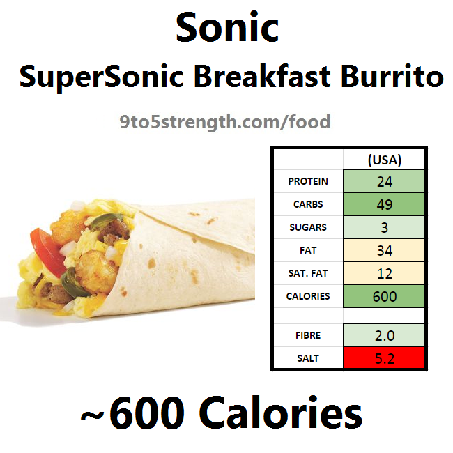 calories in sonic breakfast burrito