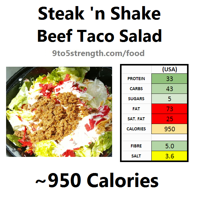 steak n shake nutrition information calories beef taco salad