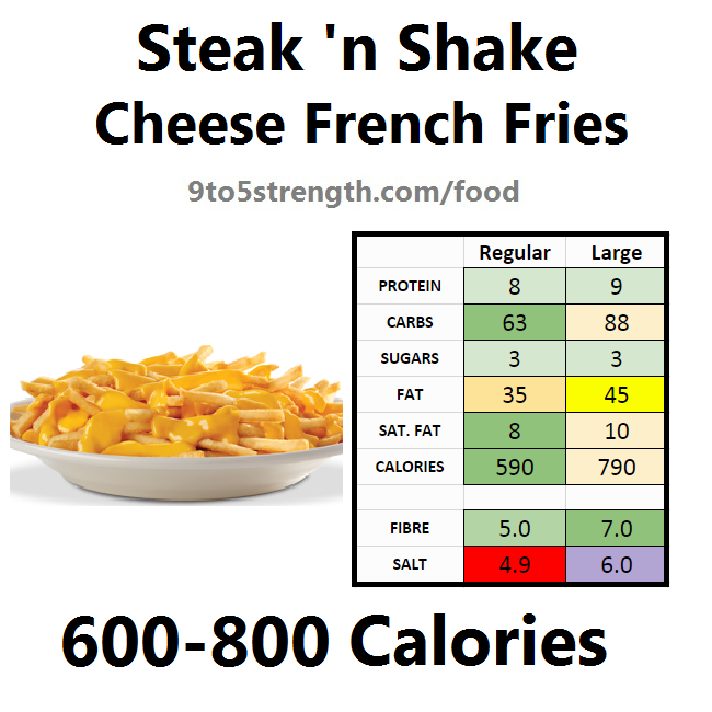 steak n shake nutrition information calories cheese french fries