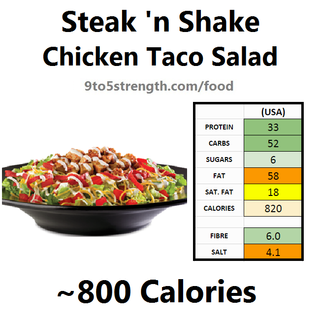steak n shake nutrition information calories chicken taco salad