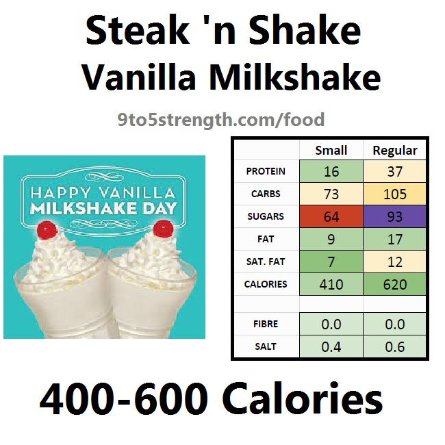 steak n shake nutrition information calories vanilla milkshake