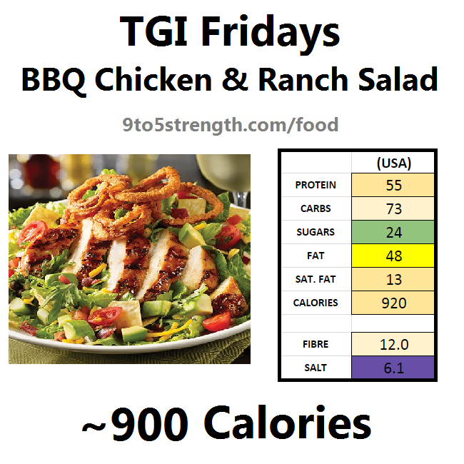 TGI Fridays calories nutrition information menu bbq ranch chicken salad