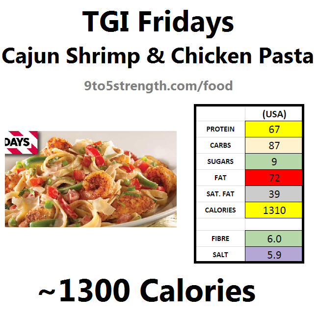 TGI Fridays calories nutrition information menu cajun shrimp chicken pasta