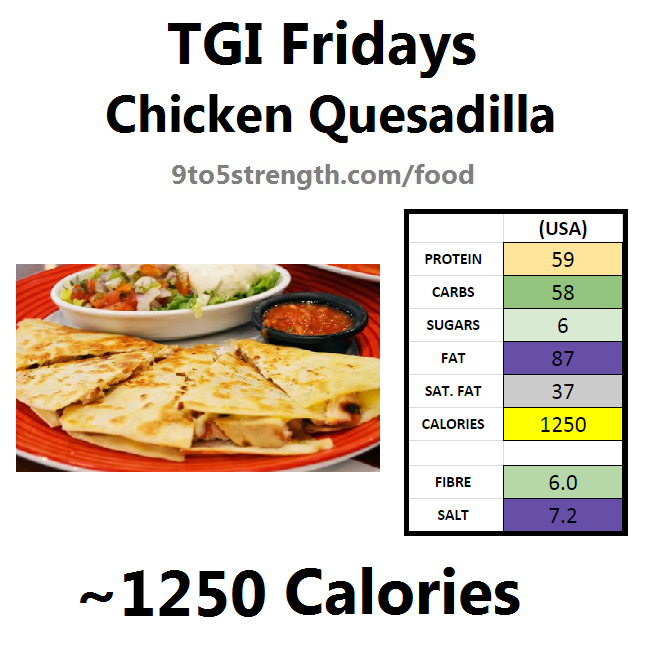 TGI Fridays calories nutrition information menu chicken quesadilla