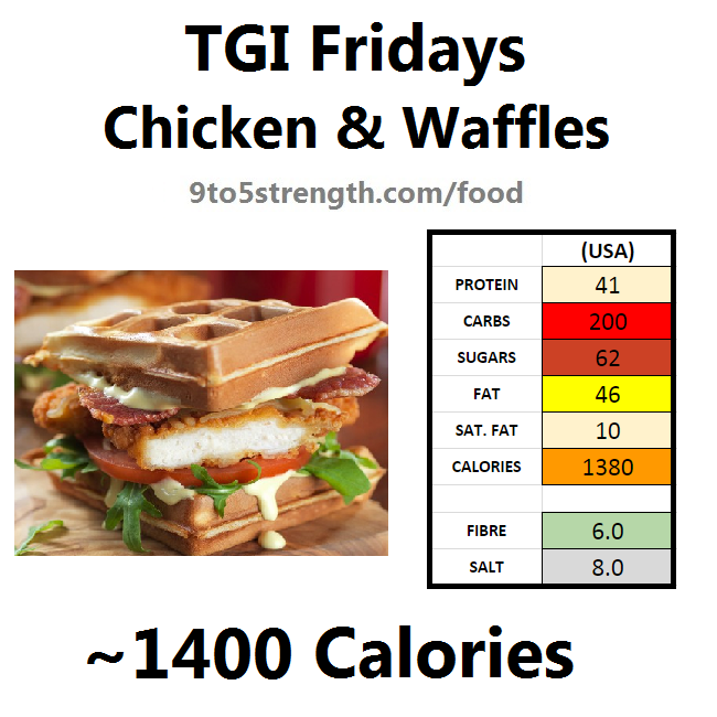TGI Fridays calories nutrition information menu chicken waffles