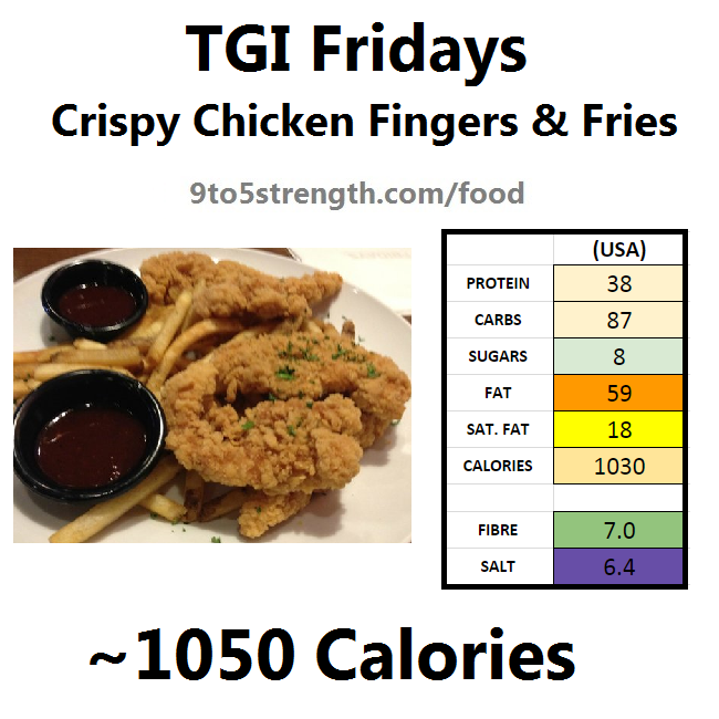 TGI Fridays calories nutrition information menu crispy chicken fingers fries