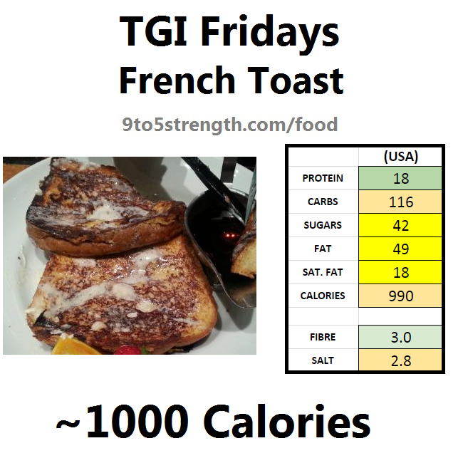 TGI Fridays calories nutrition information menu french toast