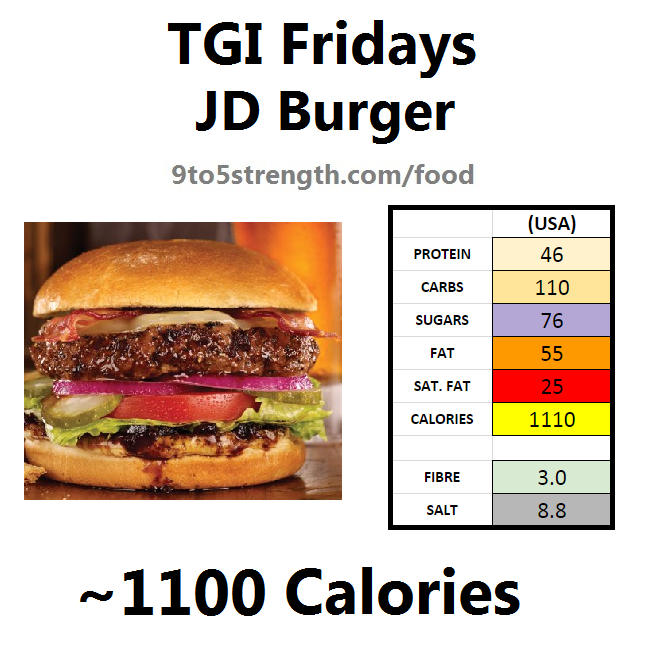 TGI Fridays calories nutrition information menu jd burger