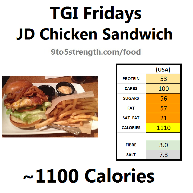 TGI Fridays calories nutrition information menu jd chicken sandwich
