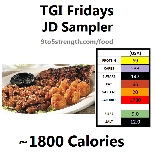 TGI Fridays calories nutrition information menu jd sampler