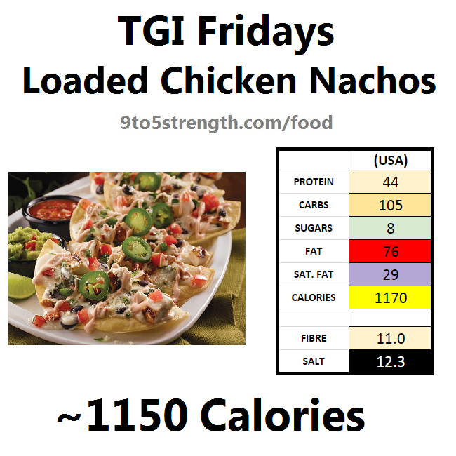 TGI Fridays calories nutrition information menu loaded chicken nachos