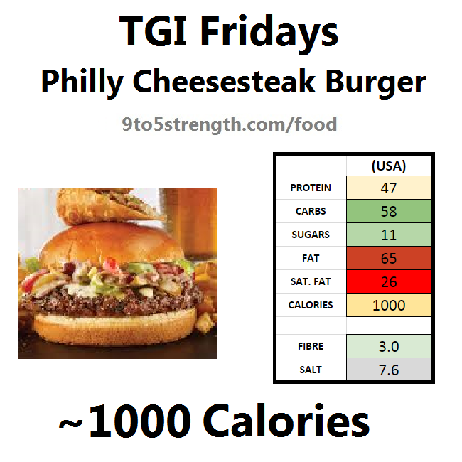 TGI Fridays calories nutrition information menu philly cheesesteak burger