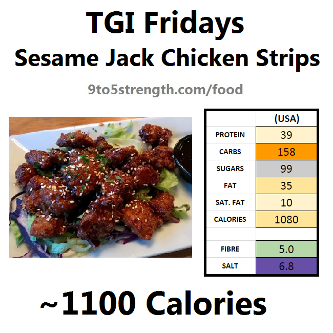 TGI Fridays calories nutrition information menu sesame jack chicken strips