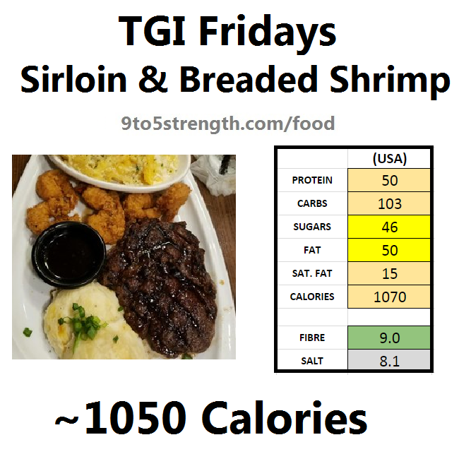 TGI Fridays calories nutrition information menu sirloin breaded shrimp