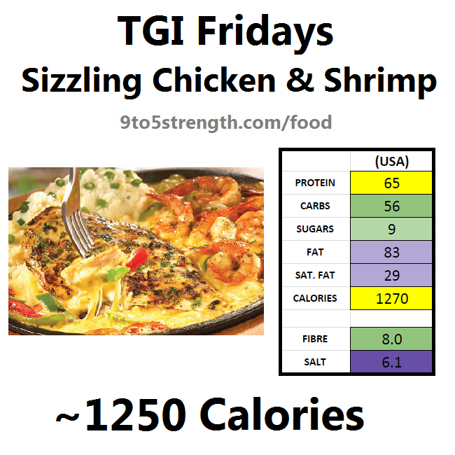 TGI Fridays calories nutrition information menu sizzling chicken shrimp