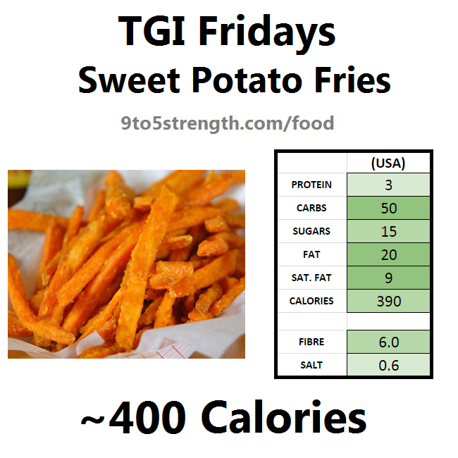 TGI Fridays calories nutrition information menu sweet potato fries