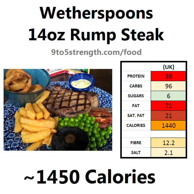 wetherspoons nutrition information calories 14oz rump steak