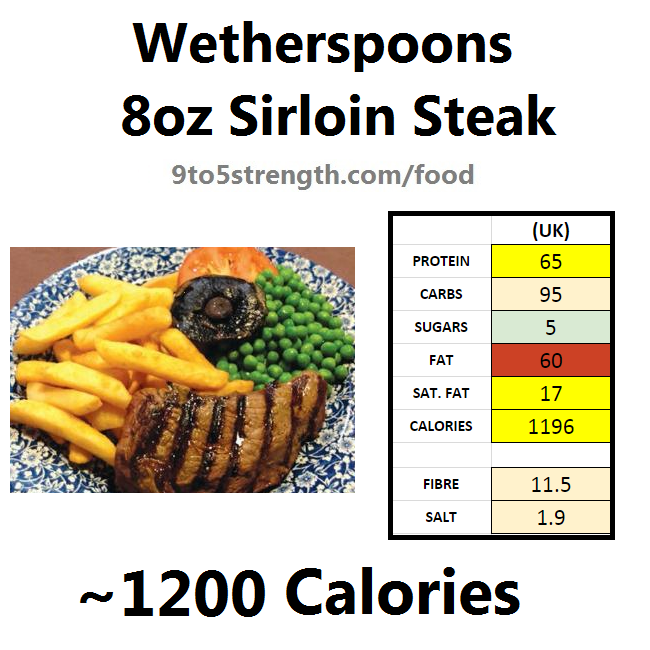 wetherspoons nutrition information calories 8oz sirloin steak
