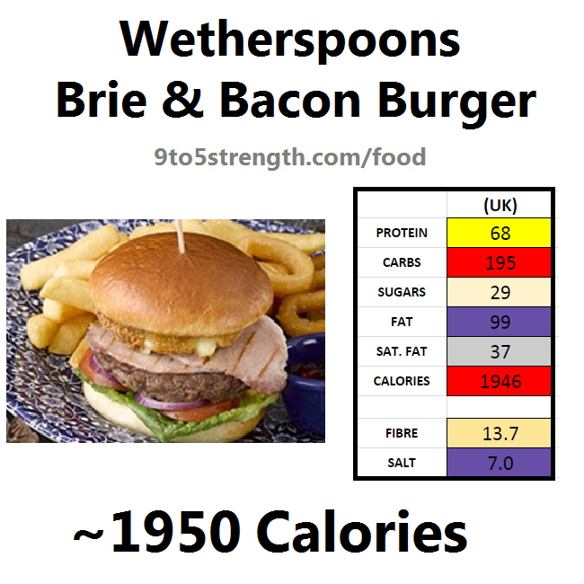 wetherspoons nutrition information calories brie bacon burger