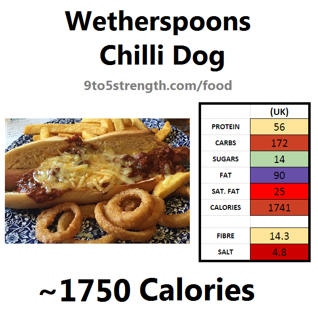 wetherspoons nutrition information calories chilli dog