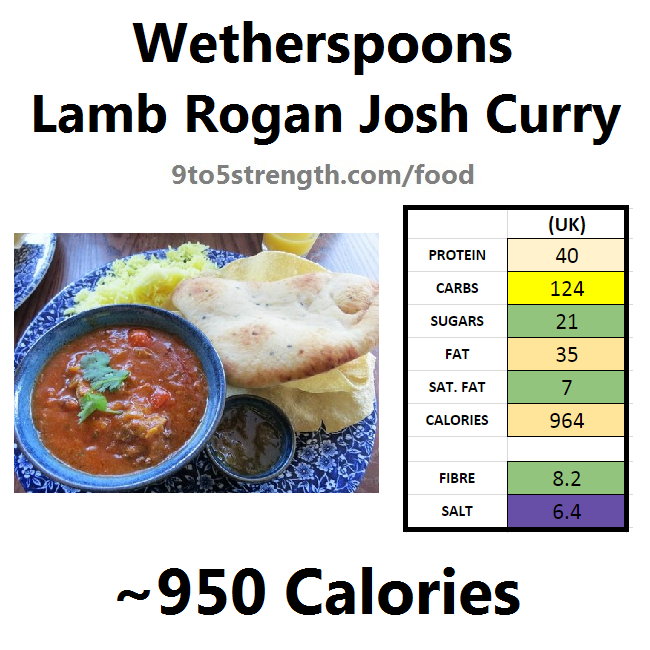 wetherspoons nutrition information calories lamb rogan josh curry
