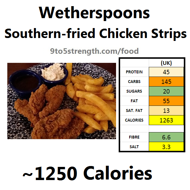 wetherspoons nutrition information calories southern-fried chicken strips
