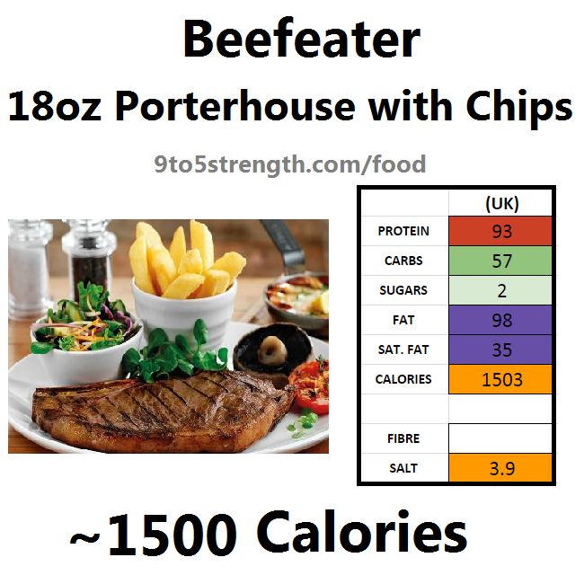 calories in beefeater 18oz porterhouse chips