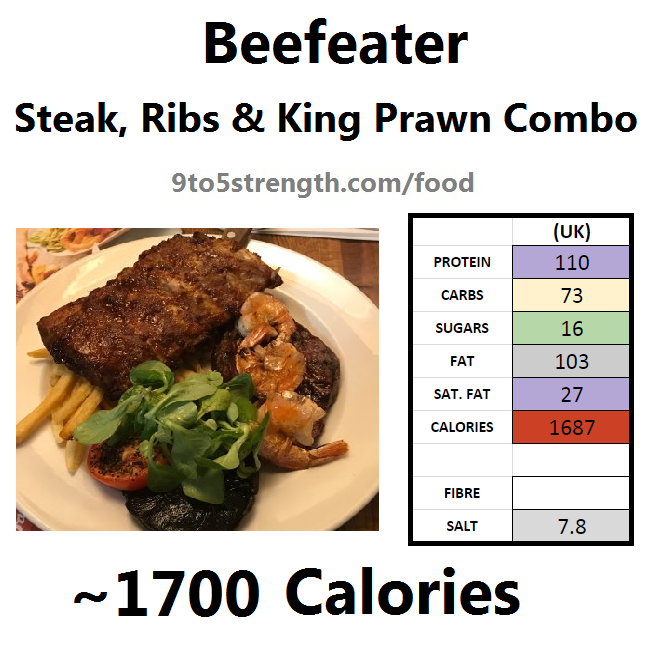 calories in beefeater steak ribs king prawn combo