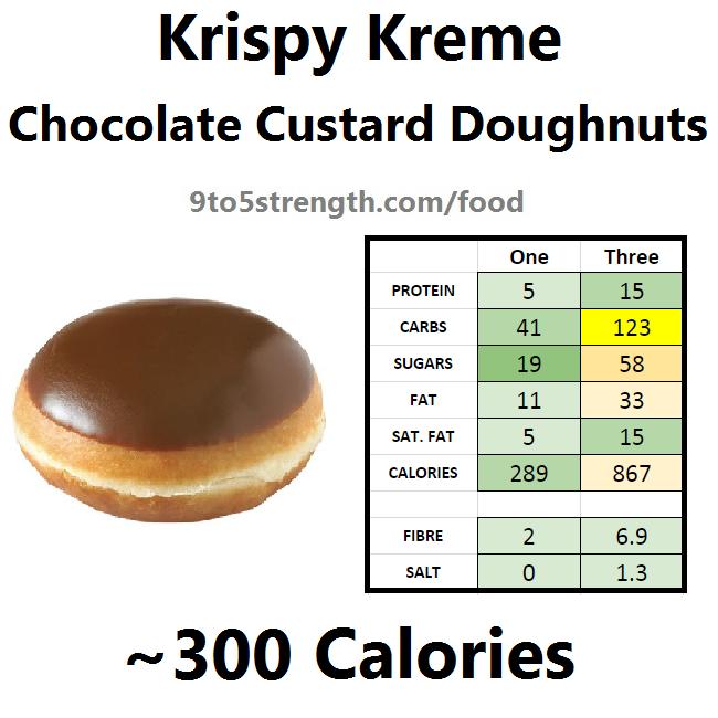krispy kreme calories doughnut donut chocolate custard