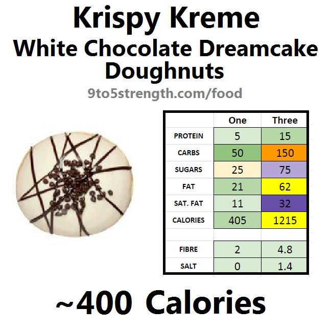 krispy kreme calories doughnut donut white chocolate dreamcake