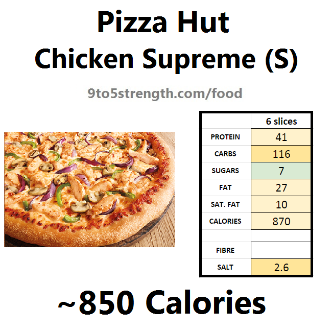 nutrition information calories pizza hut chicken supreme