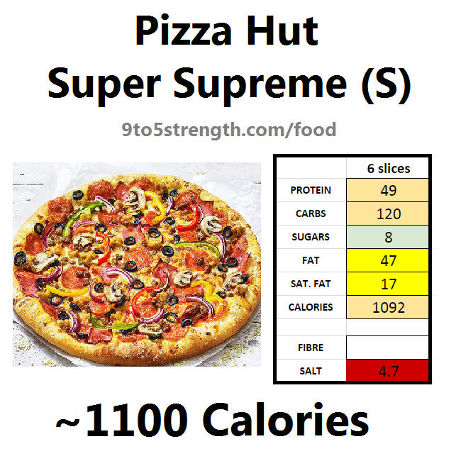 nutrition information calories pizza hut super supreme