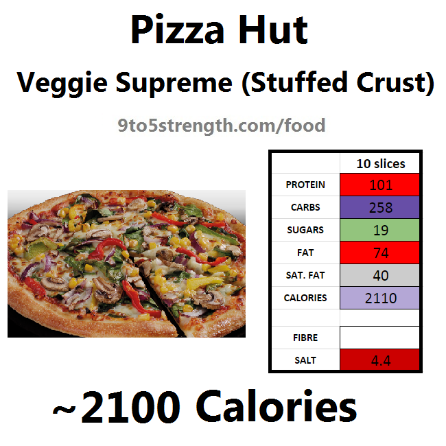 nutrition information calories pizza hut veggie supreme stuffed crust