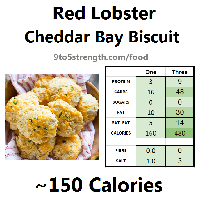 nutrition information calories red lobster cheddar bay biscuit