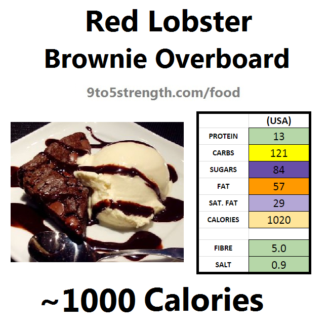 nutrition information calories red lobster brownie overboard