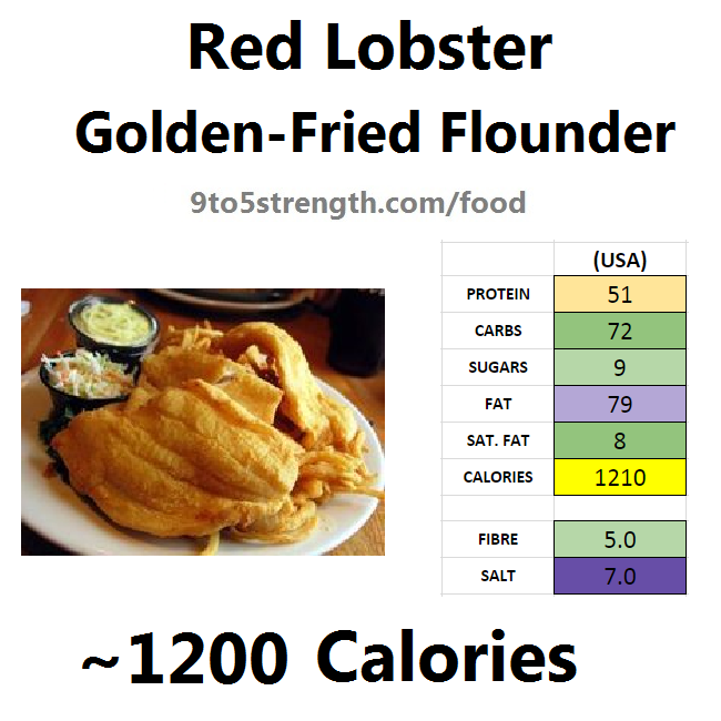 nutrition information calories red lobster golden-fried flounder