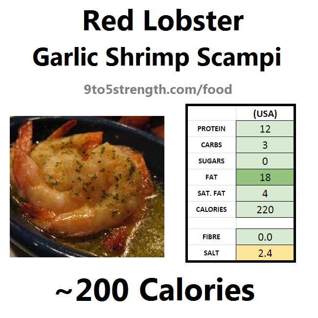 nutrition information calories red lobster grilled shrimp scampi