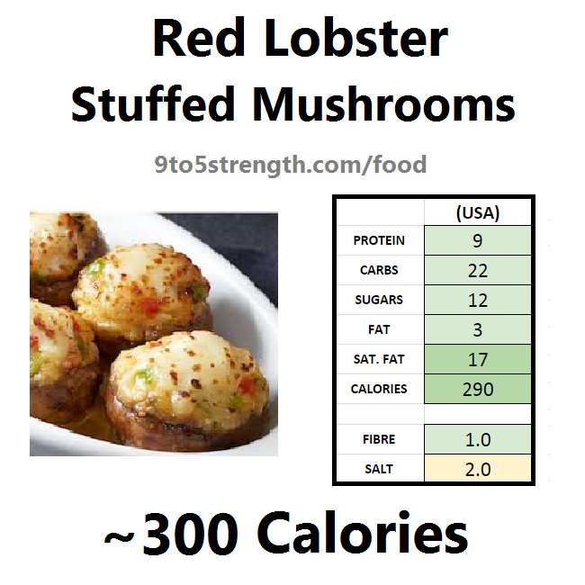 nutrition information calories red lobster stuffed mushrooms